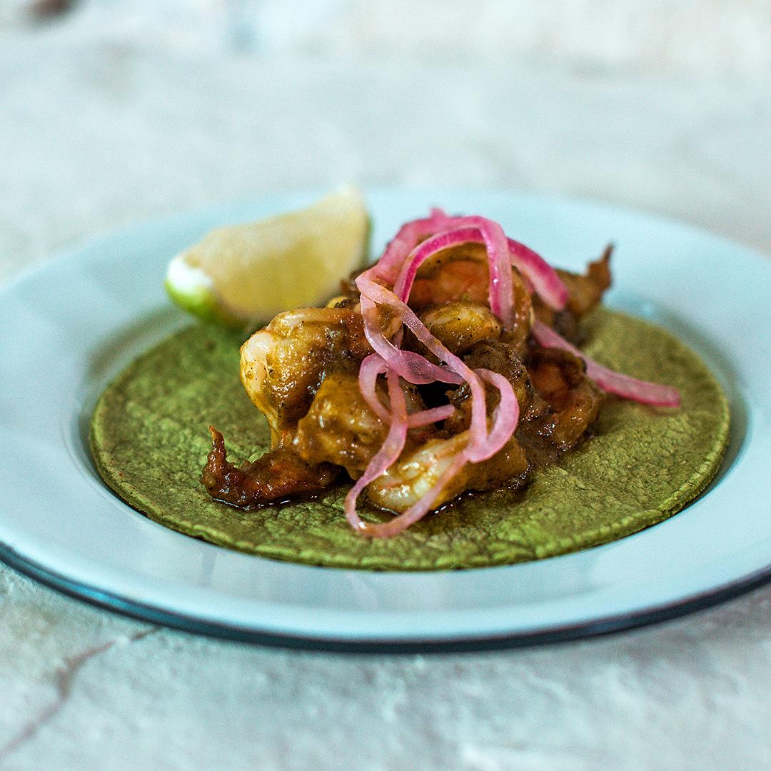 Taco Shrimp Mole Verde